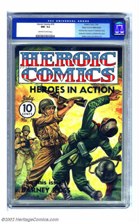 Heroic Comics #19 Mile High pedigree (Eastern Color, 1943) CGC NM- 9.2 Off-white to white pages. The violent war themed...