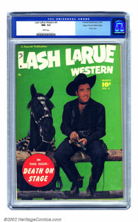 Lash Larue Western #4 Mile High pedigree (Fawcett, 1950) CGC NM-9.2 White pages. From his alliterative name to his all-b...