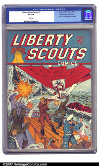 Liberty Scouts Comics #3 Mile High pedigree (Centaur, 1941) CGC VF 8.0 White pages. One of the more obscure of the eclec...