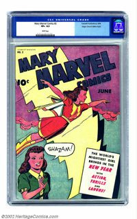 Mary Marvel Comics #2 Mile High pedigree (Fawcett, 1946) CGC VF+ 8.5 White pages. This book exemplifies why the Edgar Ch...