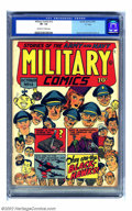 """Golden Age (1938-1955):War, Military Comics #12 """"D"""" pedigree (Quality, 1942) CGC VF- 7.5Off-white to white pages. Blackhawk is the star again in this c..."""