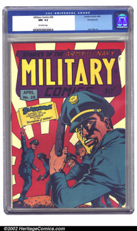 Military Comics #28 Pennsylvania pedigree (Quality, 1944) CGC NM- 9.2 Off-white pages. This is the highest graded copy y...