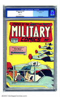Golden Age (1938-1955):War, Military Comics #34 Rockford pedigree (Quality, 1944) CGC NM 9.4 White pages. Al Bryant serves up this tasty cover in the st...