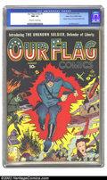 Golden Age (1938-1955):Superhero, Our Flag Comics #1 Mile High pedigree (Ace, 1941) CGC NM 9.4 Off-white to white pages. Introducing the Unknown Soldier, Ou...