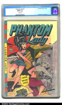 Phantom Lady #21 (Fox, 1948) CGC FN/VF 7.0 White pages. Matt Baker delivers the goods on this cover, giving us not just...