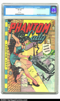 """Phantom Lady #22 (Fox, 1949) CGC VF 8.0 White pages. Using his extensive reference file of photos and magazines of """"..."""