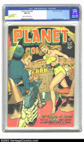 Golden Age (1938-1955):Science Fiction, Planet Comics #50 (Fiction House, 1947) CGC NM 9.4 Cream tooff-white pages. What an amazing book! An action-packed cover, a...