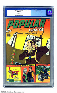 Popular Comics #98 Mile High pedigree (Dell, 1944) CGC NM- 9.2 White pages. Sunburst oranges and yellows give this cover...