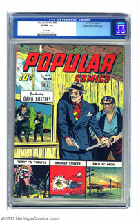 Popular Comics #99 Mile High pedigree (Dell, 1944) CGC VF/NM 9.0 White pages. Lots of colors on this cover, and the hues...