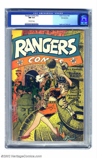 Rangers Comics #16 Pennsylvania pedigree (Fiction House, 1944) CGC NM 9.4 Off-white pages. There's danger from all direc...