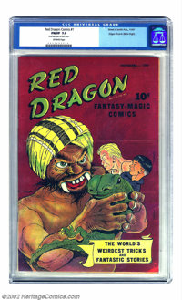 Red Dragon Comics #1 Mile High pedigree (Street & Smith, 1947) CGC FN/VF 7.0 Off-white pages. Gorgeous color charact...