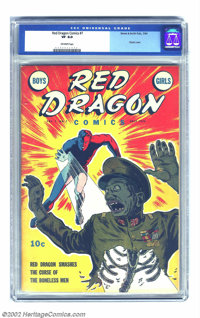 Red Dragon Comics Vol. 1, #7 (Street & Smith, 1943) CGC VF 8.0 Off-white pages. This eye-popping cover is rated a &q...