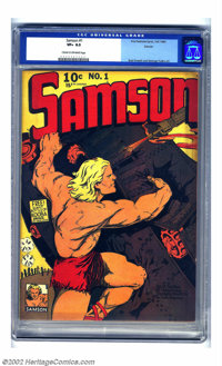 Samson #1 Denver pedigree (Fox Features Syndicate, 1940) CGC VF+ 8.5 Cream to off-white pages. Samson gets his own title...