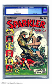 Sparkler Comics #14 Mile High pedigree (United Features Syndicate, 1942) CGC NM+ 9.6 White pages. A spectacular Burne Ho...