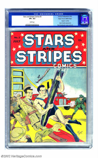 Stars and Stripes Comics #3 Mile High pedigree (Centaur, 1941) CGC VF+ 8.5 White pages. Paul Gustavson created another c...