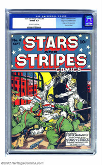 Stars and Stripes Comics #4 Mile High pedigree (Centaur, 1941) CGC VF/NM 9.0 Off-white to white pages. Origin and first...