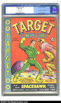 Golden Age (1938-1955):Superhero, Target Comics #7 (Novelty Press, 1940) CGC VF+ 8.5 Off-white pages. Stranded on the silent planet, Space Hawk prepares to pu...