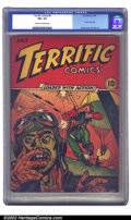 Golden Age (1938-1955):War, Terrific Comics #4 (Continental Magazines, 1944) CGC FN+ 6.5 Cream to off-white pages. Particularly gruesome WWII cover by P...