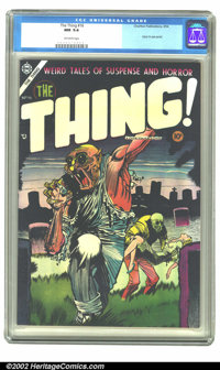 The Thing! #16 (Charlton, 1954) CGC NM 9.4 Off-white pages. Zombies are taking over the graveyard and running off with a...