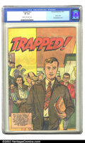 Golden Age (1938-1955):Non-Fiction, Trapped! #nn (Harvey, 1951) CGC VF 8.0 Cream to off-white pages.The paper cover of this drug education giveaway ensured the...