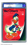 Golden Age (1938-1955):Funny Animal, Walt Disney's Comics and Stories #1 (Dell, 1940) CGC FN+ 6.5 Cream to off-white pages. Donald Duck beckons you to peruse the...