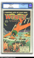 Golden Age (1938-1955):War, Wings Comics #52 Rockford pedigree (Fiction House, 1944) CGC NM 9.4Off-white to white pages. Mustangs! Zeros! Jap barges al...