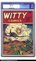 Golden Age (1938-1955):War, Witty Comics #1 Mile High pedigree (Irwin Rubin, 1945) CGC NM- 9.2Off-white to white pages. Talk about obscure comics. None...