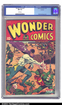 Wonder Comics #5 Rockford pedigree (Better Publications, 1945) CGC NM 9.4 White pages. A quintessential Schomburg cover...