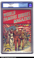 Golden Age (1938-1955):Non-Fiction, World Famous Heroes Magazine #1 Denver pedigree (Centaur, 1941) CGCVF/NM 9.0 Off-white pages. This beautiful Centaur comic ...