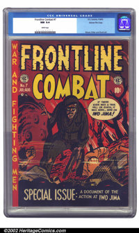 Frontline Combat #7 Gaines File pedigree 3/10 (EC, 1952) CGC NM 9.4 White pages. This special Iwo Jima issue featured a...