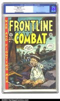 Golden Age (1938-1955):War, Frontline Combat #10 (EC, 1953) CGC NM 9.4 Off-white to white pages. John Severin's heart-tugging cover depicts a Korean War...