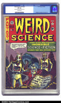 Golden Age (1938-1955):Science Fiction, Weird Science #14 (#3) (EC, 1950) CGC VF 8.0 Off-white pages.Feldstein provides a chilling end-of-the-world cover with his ...