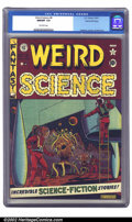 Golden Age (1938-1955):Science Fiction, Weird Science #8 Gaines File pedigree 4/12 (EC, 1951) CGC NM/MT 9.8Off-white pages. It's hard to know where to start with t...