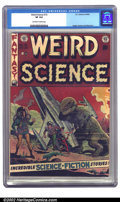 Golden Age (1938-1955):Science Fiction, Weird Science #15 (EC, 1952) CGC VF 8.0 Off-white to white pages. Adinosaur attacks on this great Wood cover. The cover loo...