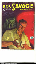 """Pulps:Hero, Doc Savage, """"Brand of the Werewolf"""" (Street & Smith, 1934). This, the eleventh issue of Doc Savage shows a werewolf peer..."""