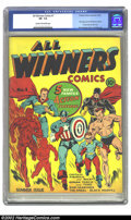 Golden Age (1938-1955):Superhero, All Winners Comics #1 (Timely, 1941) CGC VF- 7.5 Cream to off-white pages. Only one copy of this early Timely key has been g...
