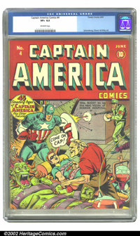 Captain America Comics #4 (Timely, 1941) CGC VF+ 8.5 Off-white pages. Bucky begs for his life on this Schomburg cover, m...
