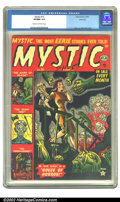 Golden Age (1938-1955):Horror, Mystic #15 River City pedigree (Atlas, 1952) CGC VF/NM 9.0 Cream tooff-white pages. Joe Maneely created a truly ghastly cov...