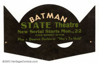 Batman State Theatre Mask (DC, 1942). In 1942, the State Theatre and the Philadelphia Record Newspaper teamed up to make...