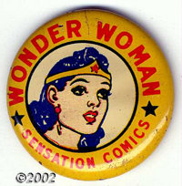 """Wonder Woman 1"""" Litho Button (DC, 1942). This is probably the rarest piece of Wonder Woman memorabilia from the era..."""