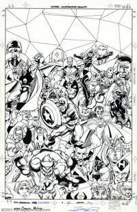 George Perez - Original Cover Art for Avengers Visionaries Trade Paperback (Marvel, 1999). This incredibly detailed cove...