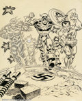 Original Comic Art:Covers, Frank Robbins and John Romita, Sr. - Original Cover Art forGiant-Size Invaders #1(Marvel, 1975). Figuratively striding acro...