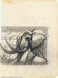 "Original Comic Art:Sketches, Frank Frazetta - Original Pencil Rough for Documentary Poster Art for ""The African Elephant"" (1970s). In the early 1970s Fra..."