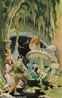 "Frank Frazetta - Original Watercolor Painting, ""The Secret People"" (Lancer, 1964). Frank Frazetta began his ca..."