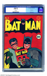 Batman #8 (DC, 1942) CGC VF/NM 9.0 White pages. Okay, Mr./Ms. Persnickety, you've been looking for a boffo Golden Age in...