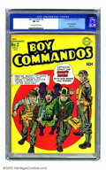 Golden Age (1938-1955):War, Boy Commandos #2 (DC, 1943) CGC NM 9.4 Off-white to white pages.This is one incredible copy of a classic Simon and Kirby Hi...