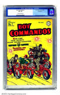 Golden Age (1938-1955):War, Boy Commandos #7 Pennsylvania pedigree (DC, 1944) CGC VF+ 8.5Off-white to white pages. Not much doubt about the cover art o...