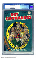 Golden Age (1938-1955):War, Boy Commandos #8 (DC, 1944) CGC FN/VF 7.0 Cream to off-white pages.A signature Simon and Kirby cover depicts the boys prime...