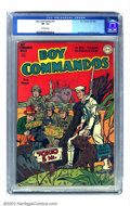 """Golden Age (1938-1955):War, Boy Commandos #12 (DC, 1945) CGC VF- 7.5 Off-white pages. Someonesigned """"Simon & Kirby"""" on this cover, but Overstreet warns..."""