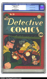 Detective Comics #59 (DC, 1942) CGC 7.0 FN/VF Cream pages. Batman dishes out a couple of knuckle sandwiches, while his p...
